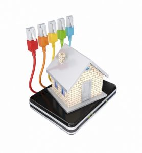 Small house, router and colorful patchcords